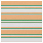 [ Thumbnail: Brown, Lavender, and Sea Green Colored Stripes Fabric ]