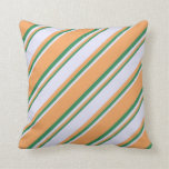 [ Thumbnail: Brown, Lavender, and Sea Green Colored Stripes Throw Pillow ]