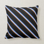 [ Thumbnail: Brown, Lavender, Cornflower Blue, and Black Lines Throw Pillow ]
