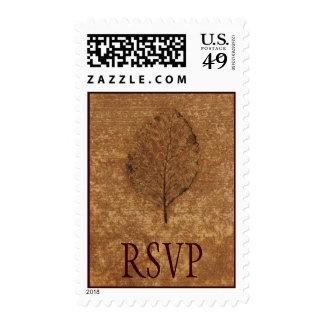 Brown Leaf Fossil RSVP Postage