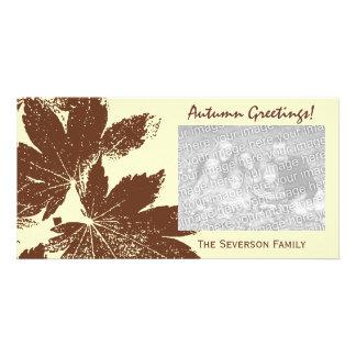 Brown Leaf Print Autumn Greetings Card