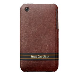 Brown Leather 3G Barely There - Personalize iPhone 3 Case