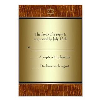 Brown Leather Black Bar Mitzvah RSVP Card