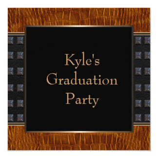 Brown Leather Boys Graduation Party Card