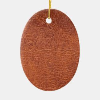 Brown leather ceramic ornament