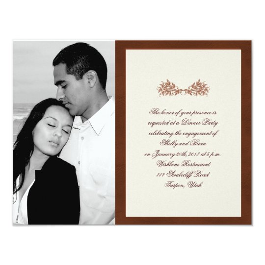 Brown Leather Classic Elegance Wedding Engagement Card