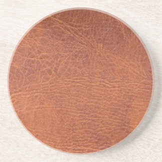 Brown leather drink coaster