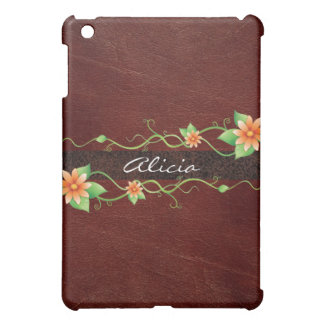 Brown Leather Floral iPad Case