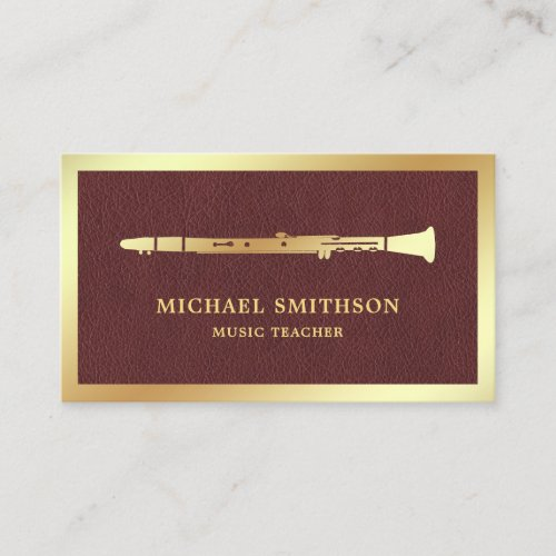 Brown Leather Gold Foil Clarinet Music Teacher Business Card
