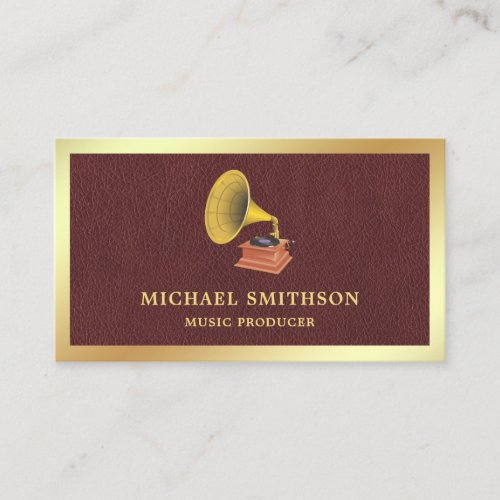 Brown Leather Gold Foil Gramophone Music Producer Business Card