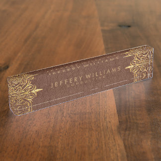 Brown Leather Gold Foil Lace Frame Name Plate