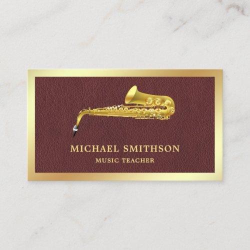 Brown Leather Gold Foil Saxophone Music Teacher Business Card