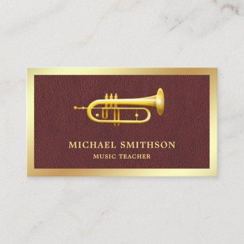 Brown Leather Gold Foil Trumpet Music Teacher Business Card
