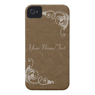 Brown Leather Image with Toolwork Scrolls in Cream iPhone 4 Case