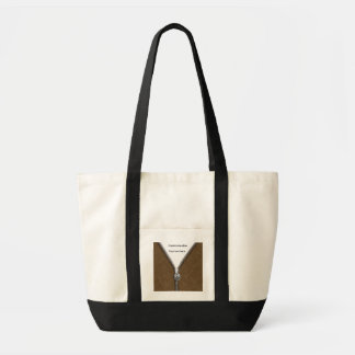 Brown Leather Jacket with Zipper & Stitching Tote Bag