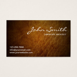 Brown Leather Landscape Architect Business Card