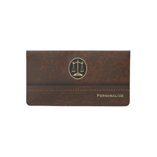 Brown Leather Lawyer Style Checkbook Cover