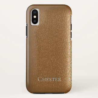 Brown Leather Like Texture Personalized iPhone X Case