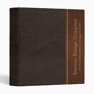 Brown leather look 3 ring binder