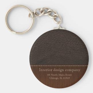 Brown leather look basic round button keychain