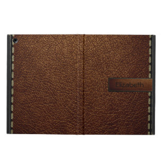 Brown leather look brown tag iPad air cover