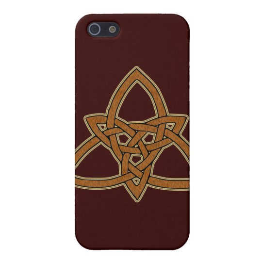 Brown Leather Look Celtic Triquetra Case For iPhone SE/5/5s