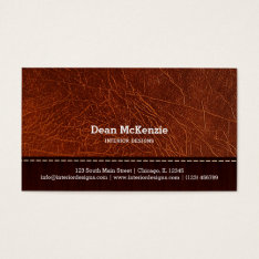 Brown Leather Look Interior Design Business Card at Zazzle