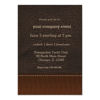 Brown leather look 5x7 paper invitation card