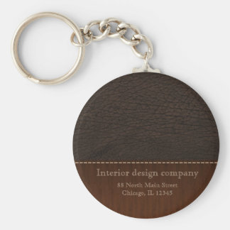 Brown leather look keychain