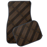 Brown leather-look pattern car mat