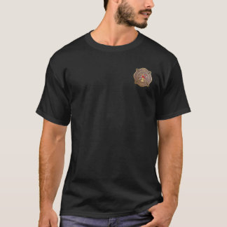 Brown leather maltese firefighting symbol T-Shirt