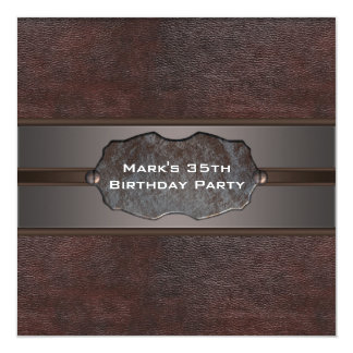 Brown Leather Mans 35th Birthday Party Custom Invite