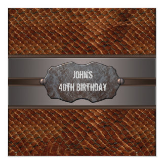 Brown Leather Mans 40th Birthday Party Invitation