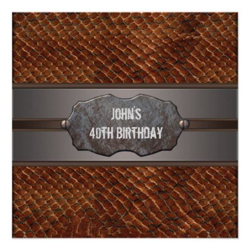 Brown Leather Mans 40th Birthday Party Invite