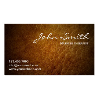 Brown Leather Massage therapist Business Card