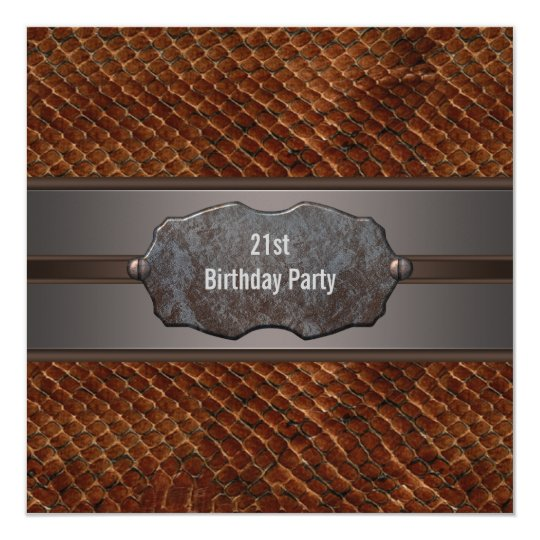 Brown Leather Metal Mans 21st Birthday Party Card