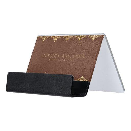 Brown Leather & Ornate Floral Gold Frame Desk Business