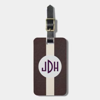 Brown Leather Pattern Custom Monogram Luggage Tag