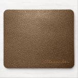 Brown Leather Pattern look- Custom Monogram Mousepads