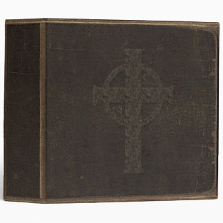 Brown Leather Print Cross Binder