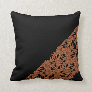 Brown Leather Print On Black Throw Pillow