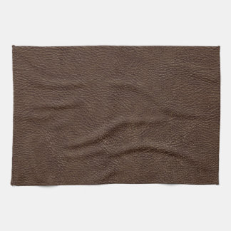 Brown Leather Print Texture Pattern Kitchen Towel
