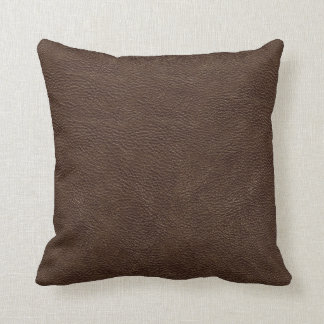 Brown Leather Print Texture Pattern Throw Pillow
