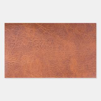 Brown leather rectangular sticker