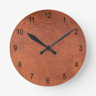Brown leather round clock