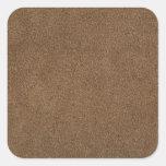 Brown leather square sticker