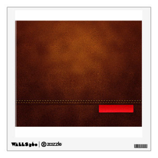 Brown Leather Surface With Red Tag And Beige Stitc Wall Decals