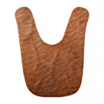 Brown Leather Texture Baby Bib