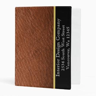 Brown leather Texture Gold stripe vinyl binder