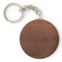 Brown Leather Texture Monogram Keychain